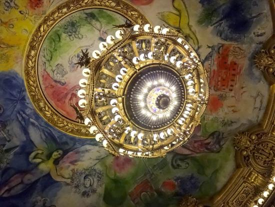 Paris, France: The Auditorium Chandelier and the Chagal Painting