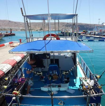 Genuine Fishing in Tenerife: Shade at the back of the boat