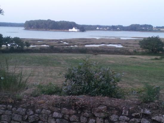 La Petite Presqu'ile : La ria d'Etel (marée basse), vue depuis le bas du jardin.