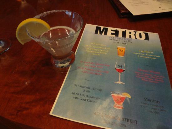 Metro: Cardapio e martini