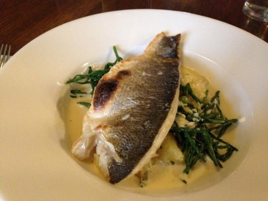 The Corbet Arms: Sea bass in white wine sauce and new potatoes