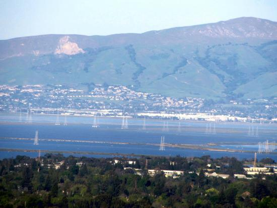 Palo Alto, CA: Zoom-in view of the Bay from the Trail