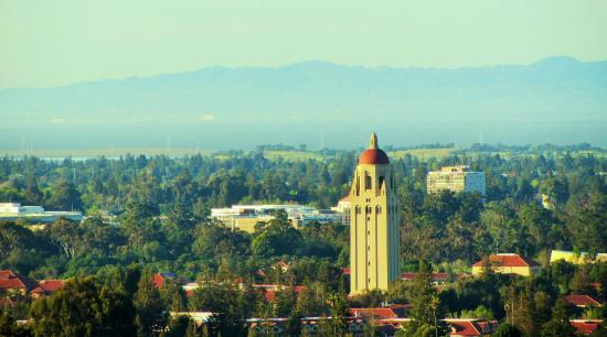 Palo Alto, CA: View of Stanford Tower and the University from the Trail
