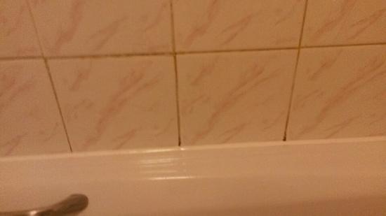 Premier Inn Wigan West (M6,Jct 26) Hotel: Mildew is rife on the bath walls.