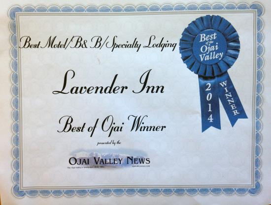 Lavender Inn : Voted best motel, B&B, Specialty Lodging,