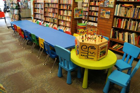 Railroad Book Depot: Kids Table for arts & crafts, and Summer Art Camp.