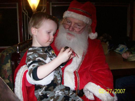 Hood River, OR: Visiting with Santa while on the Polar Express Excursion on the Mt.Hood Railroad