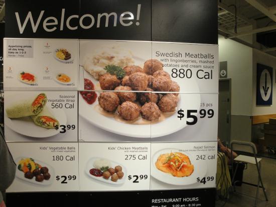 Ikea restaurant menu