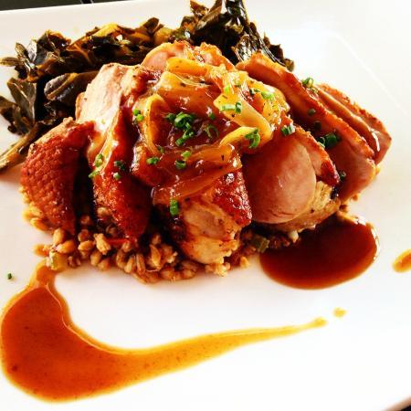 Solstice Kitchen: Maple Leaf Farms Duck Breast w/caramelized vidalia onion jam, bbq jus, dirty farro & collard gre