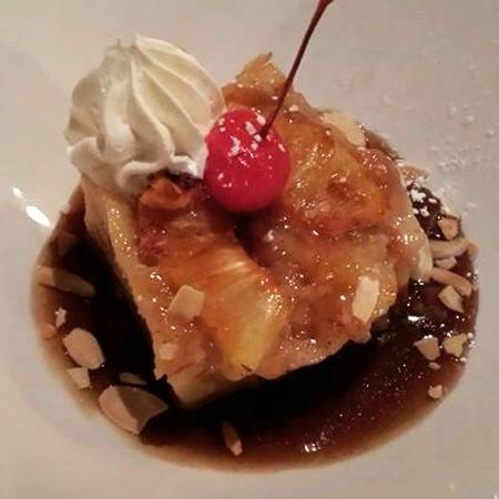 Solstice Kitchen : King's Hawaiian Bread Pudding w/dark rum caramel, candied pineapple & toasted almonds.
