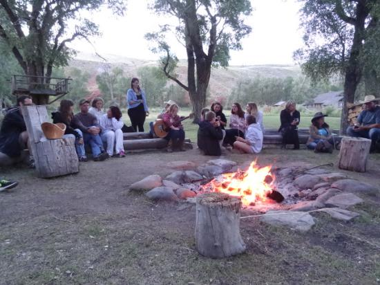 The Lazy L and B Ranch: Enjoying the campfire the last night.  Cowboy poetry!