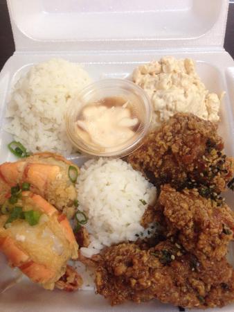 Broke da Mouth Grindz: Combination plates but missing shrimps on both