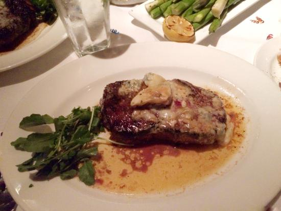 The Capital Grille: NY Strip steak with blue cheese on top