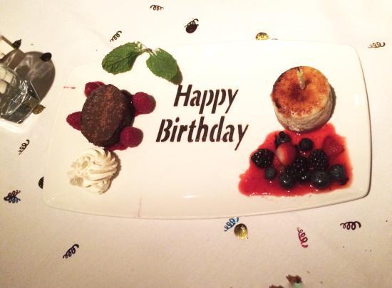 The Capital Grille: Birthday Desert plate