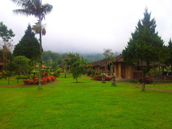 view to the cottages at Enjung Beji Resort, Bedugul, Bratan Lake, Bali