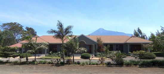 Planet Lodge front with view of Mt Meru