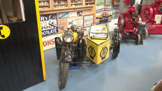 Oakham Treasures : A.A. Motorbike and sidecar.