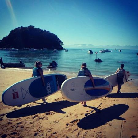 Abel Tasman Paddleboarding: My two friends are I ready for paddleboarding