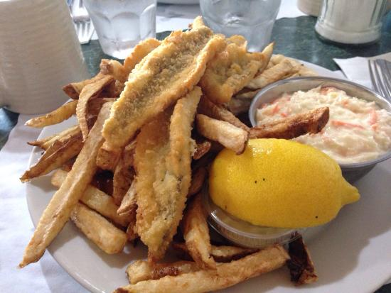 Carol & Earl's Restaurant: Hamburger and fries Perch and chips dinner and salad Chicken fingers