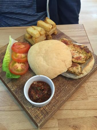 The Coffee House: These pictures are what I describe in my review ! My Cajun chicken Burger and full English . Top
