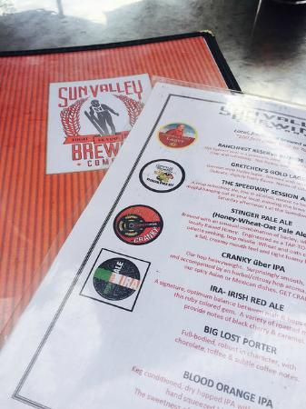 Sun Valley Brewing Company: Beer Menu at the Sun Valley Brewing Co!
