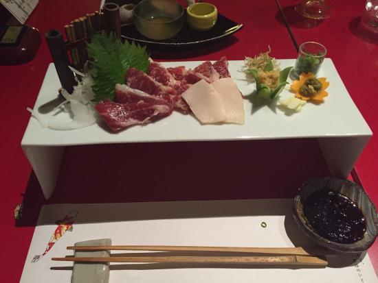 Sakuraan: Dinner course menu with Basihimi (Horse Meat).