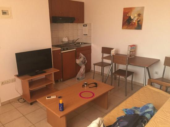 Apartments G & T: Living room and Kitchenette