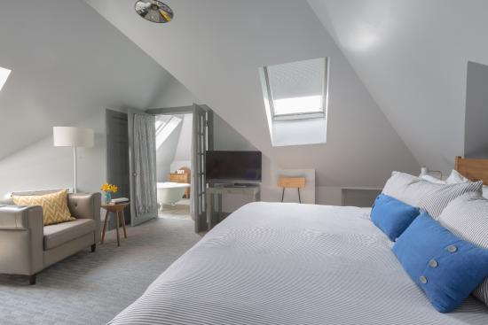 The loft suite bedroom at The Hotel Portsmouth.