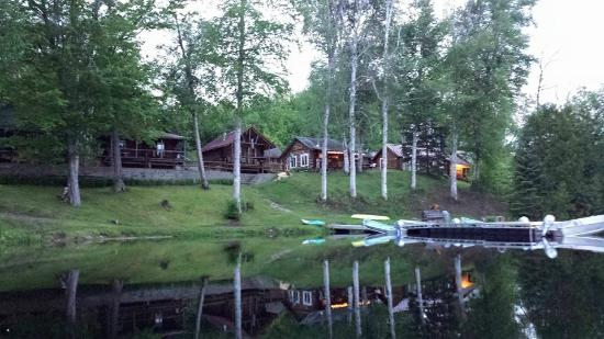 Eustis, ME: View of Cabins from the pond