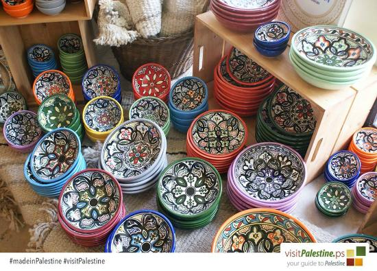 traditional ceramics from visit palestine boutique shop