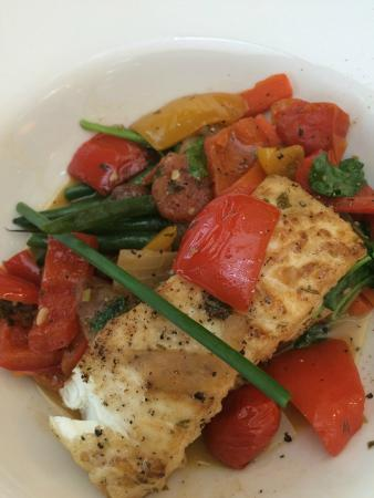 Il Mercato: Halibut and seasonal vegetables in broth