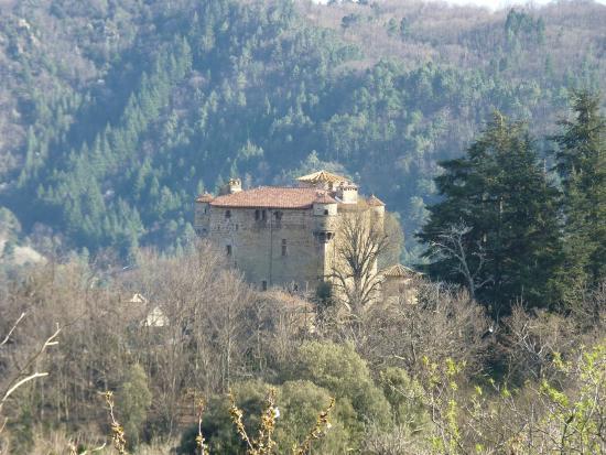 Meyras, Frankrike: Château de Hautsegur (vue panoramique)