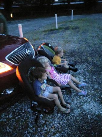 Swan Drive In Watching Minion Movie From The Car Seats