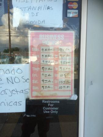 Aspers, PA: Tania's Mexican Restaurant: Business Hours