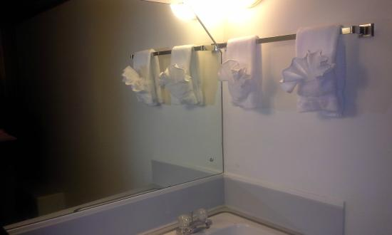 Budget Host Melody Lane Motel: sink area outside bath