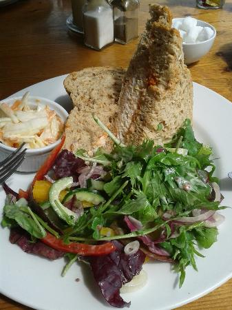 The veranda overlooking the harbour and a fantastic crab sarnie...enough for 2 asa light lunch