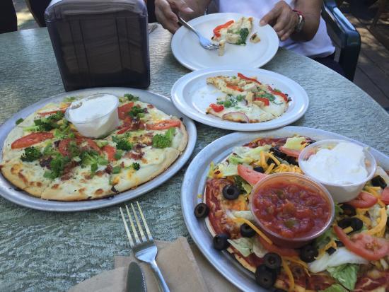Rafferty's Pizza Nisswa: Baked Potato, Taco, and Chicken Alfredo Pizzas