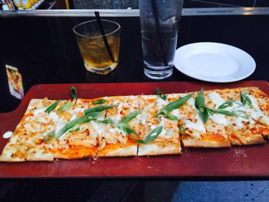 Bar louie: Buffalo flat bread & service at the bar was excellent!