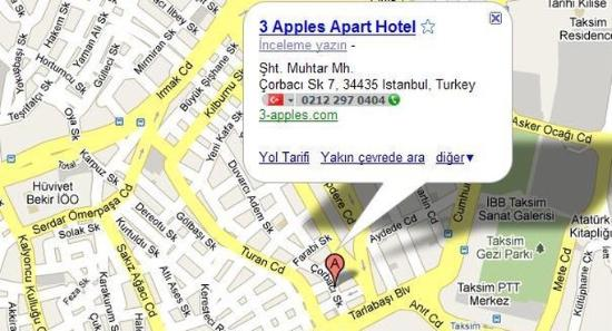 Three Apples Taksim Suites: Three Apples Hotel Map