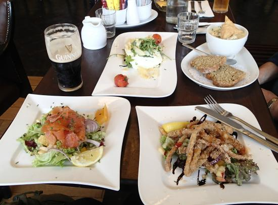 Ring of Kerry Hotel Restaurant: Smoked salmon salad, octopus, bisque, and goat cheese.