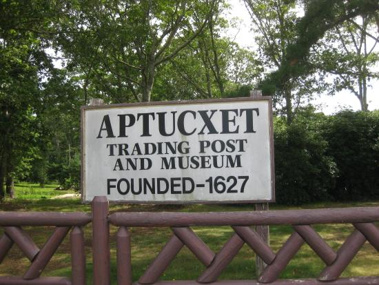 Bourne, MA: Aptucxet trading post & museum sign from Canal bikepath