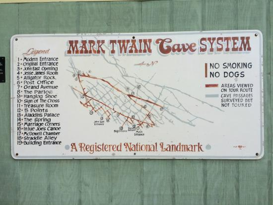 Map of the Cave system. - Picture of Mark Twain Cave and ...