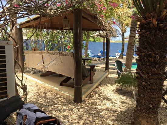 Caribbean Chillout Apartments : De lekkere zit, vlakbij het zwembad. Ideaal voor een drankje in de avond en het ontbijt