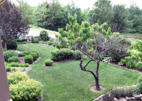 Honeoye, NY: View of one of the gardens from deck