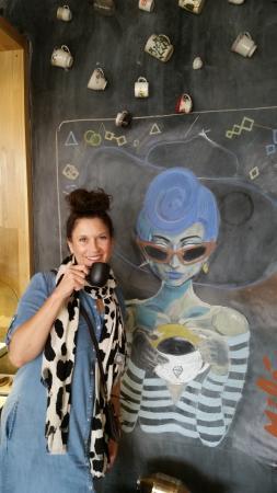 inside cafeoteca  - cool artwork!