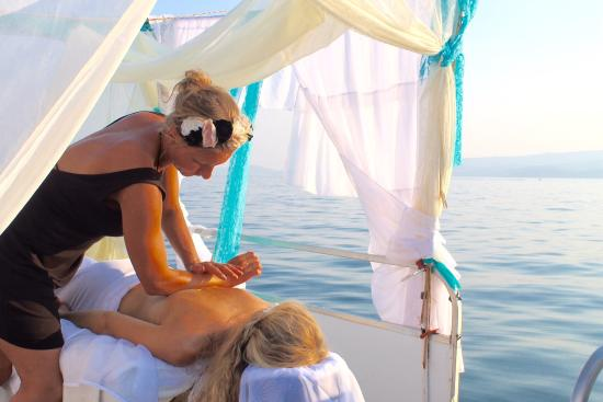 Somers, MT: Aqua Marine Massage offers a unique service~massage from the deck of a pontoon boat over the pri