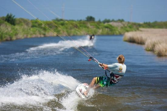 Waves, NC: Kiteboarding behind REAL Watersports