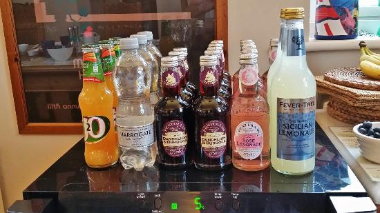Grindon, UK: selection of quality soft drinks at the Old Repeater Station