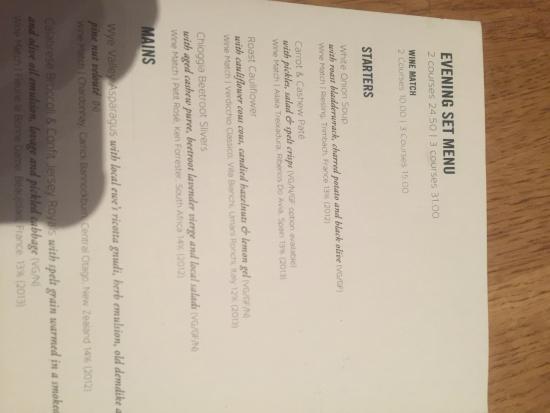 menu - Picture of Acorn Restaurant, Bath - TripAdvisor