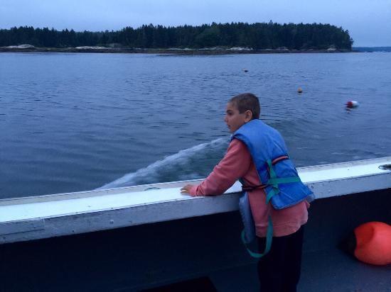 Anna's Water's Edge Restaurant: Our son enjoying the lobster boat ride